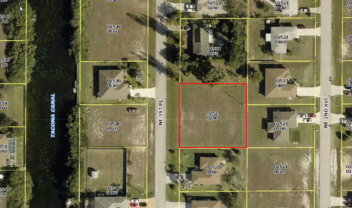 Aerial View for 2129 NE 1st Place, Cape Coral, FL 33909